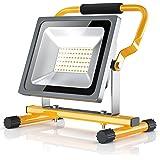 Brandson - 30W LED Proiettore da cantiere | Faro | Riflettore da lavoro | pieghevole | 30W | 2500 lumen | per interni ed esterni | A+ | scocca in metallo | con cavo | impermeabile