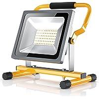 Brandson - 30W LED Proyector de construcción para exteriores - Luz Foco de trabajo - Work Lamp Floodlight - Incl. bastidor y asa de transporte - Plegable - 30 W - 2500 lumen