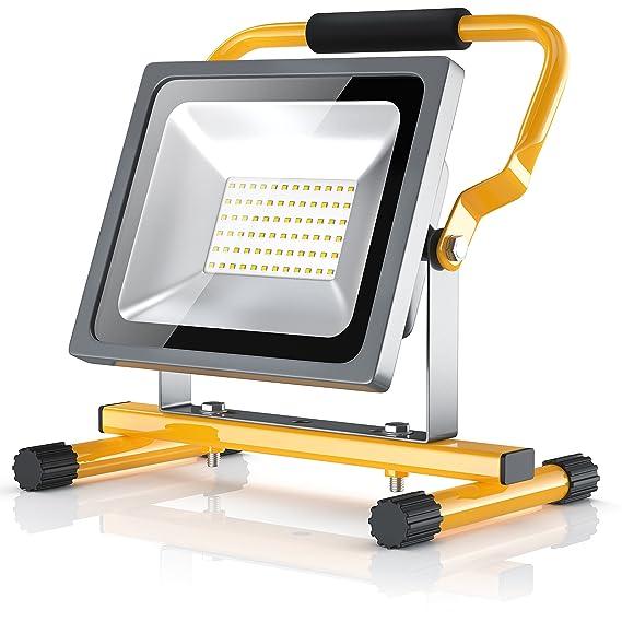 BRANDSON - LED Baustrahler 30W | Arbeitsleuchte | Arbeitsscheinwerfer | Bauscheinwerfer | inkl. Standgestell und Tragegriff |