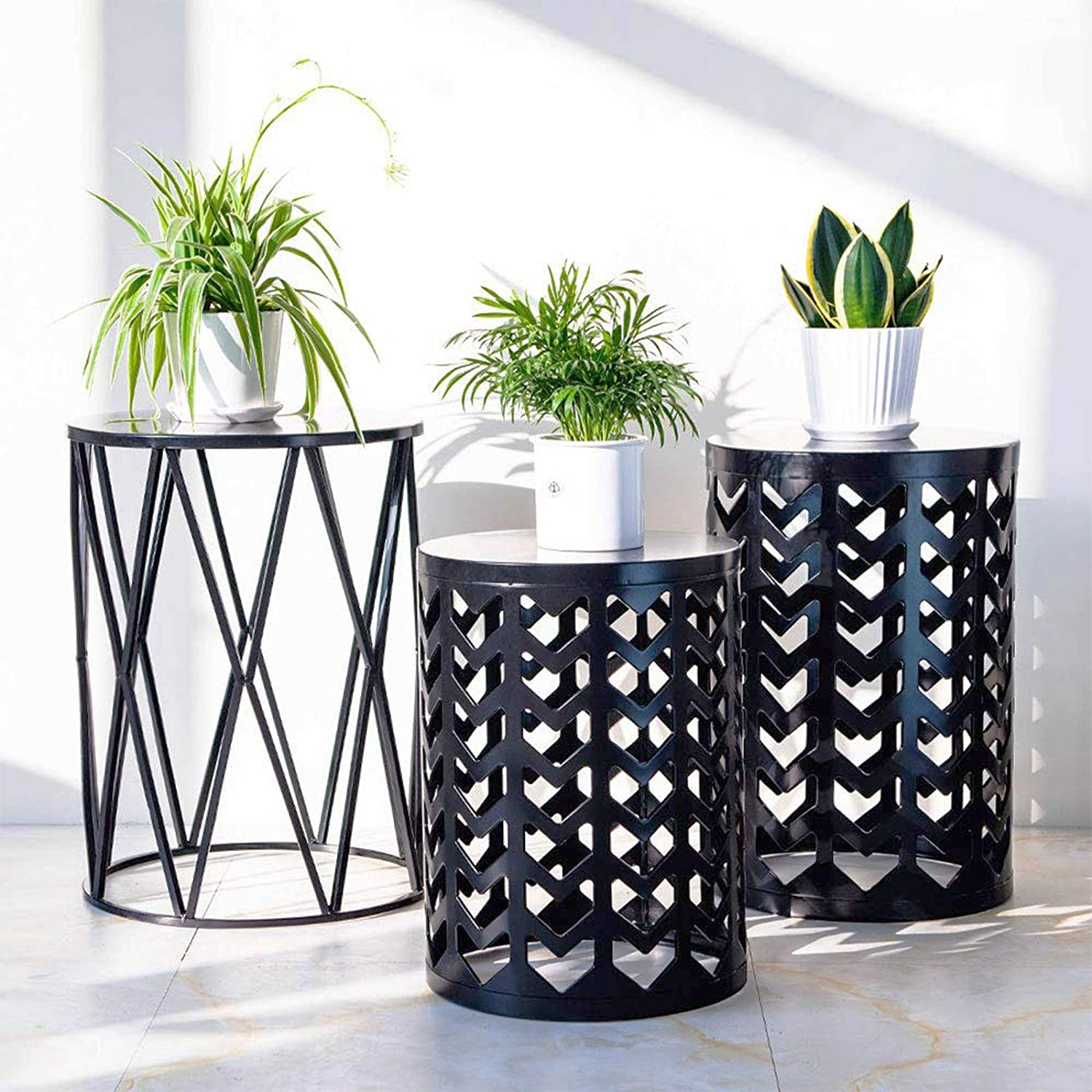 Set of 3 Nesting Metal Round Coffee Table, Side Table End Table for Indoor Outdoor Multifunctional Use,Heavy Duty Metal Plant Stand Garden Stool- Black(Ship from US)