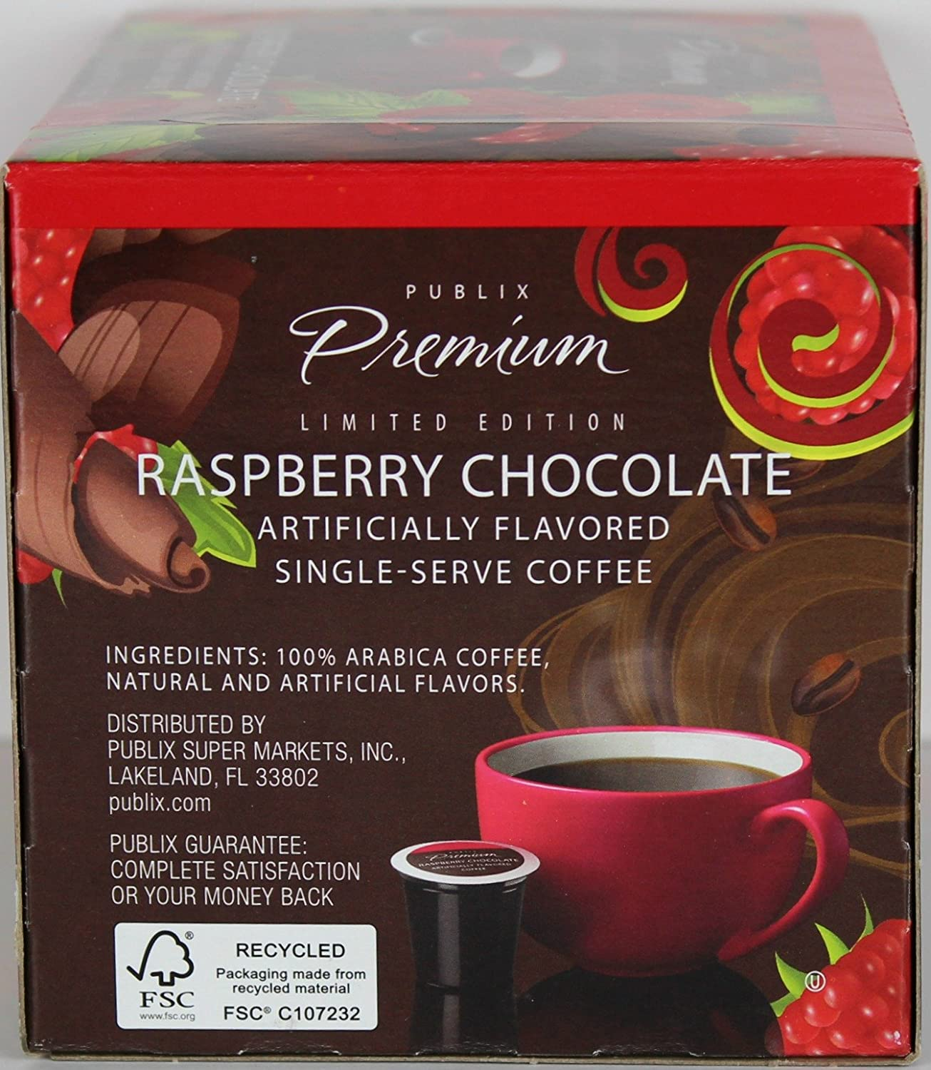 amazon com publix limited edition raspberry chocolate 12 single