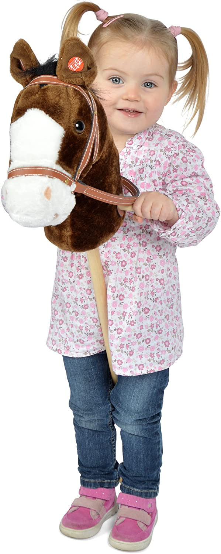 Pink Papaya Caballo de Juguete, Happy, Bonito Caballo de Peluche con Sonido: Relincho y Sonido de galopeo - Color: marrón con Melena Negro