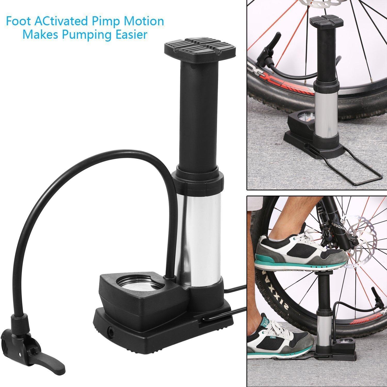 Mini Bike Bicycle Air Pump Fits Presta Schrader Foot Activated Floor 120 PSI