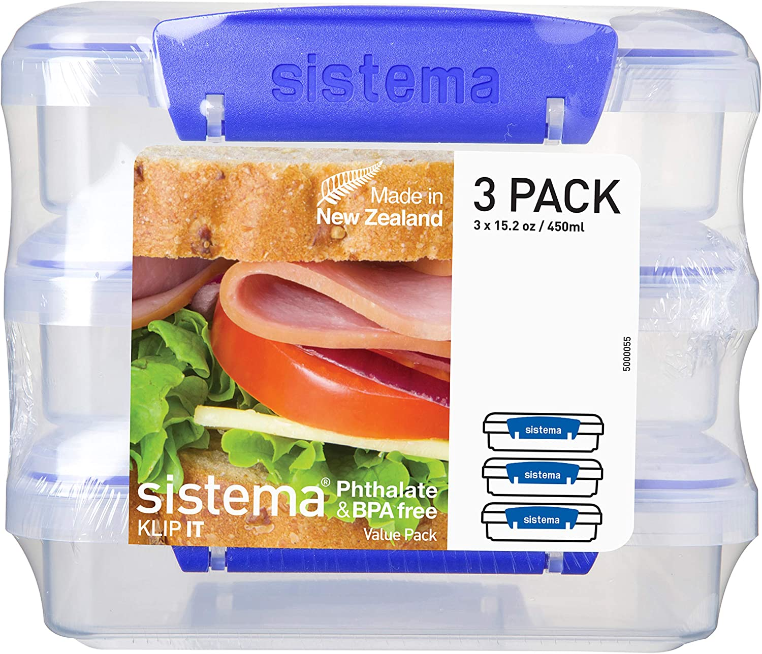 Sistema KLIP IT Sandwich Box Food Storage Container Pack of 9