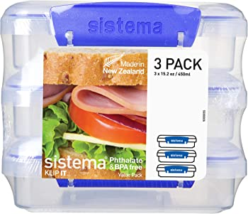 3-Pack Sistema 1.9 Cup Compact Food Storage Container