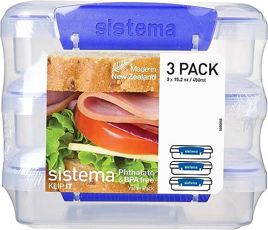 Sistema 1643, Fiambreras para Sándwiches, 450 ml, 14.5 x 15 x 12.4 cm, Pack de 3 Unidades: Amazon.es: Hogar