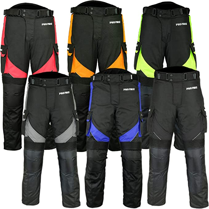 red, 2XL PROFIRST Textile Motorbike Motorcycle Trouser CE Approved Protective Armours All Weather Waterproof Breathable Mens Motorcycle Pant with Removable Lining