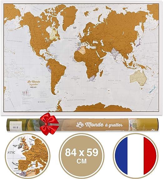 Rasca el Mundo - Versión Francesa - ¡Rasca los lugares a los que viajes! - detalles cartográficos -84,1cm (ancho) x 59,4(alto) cm: Amazon.es: Oficina y papelería