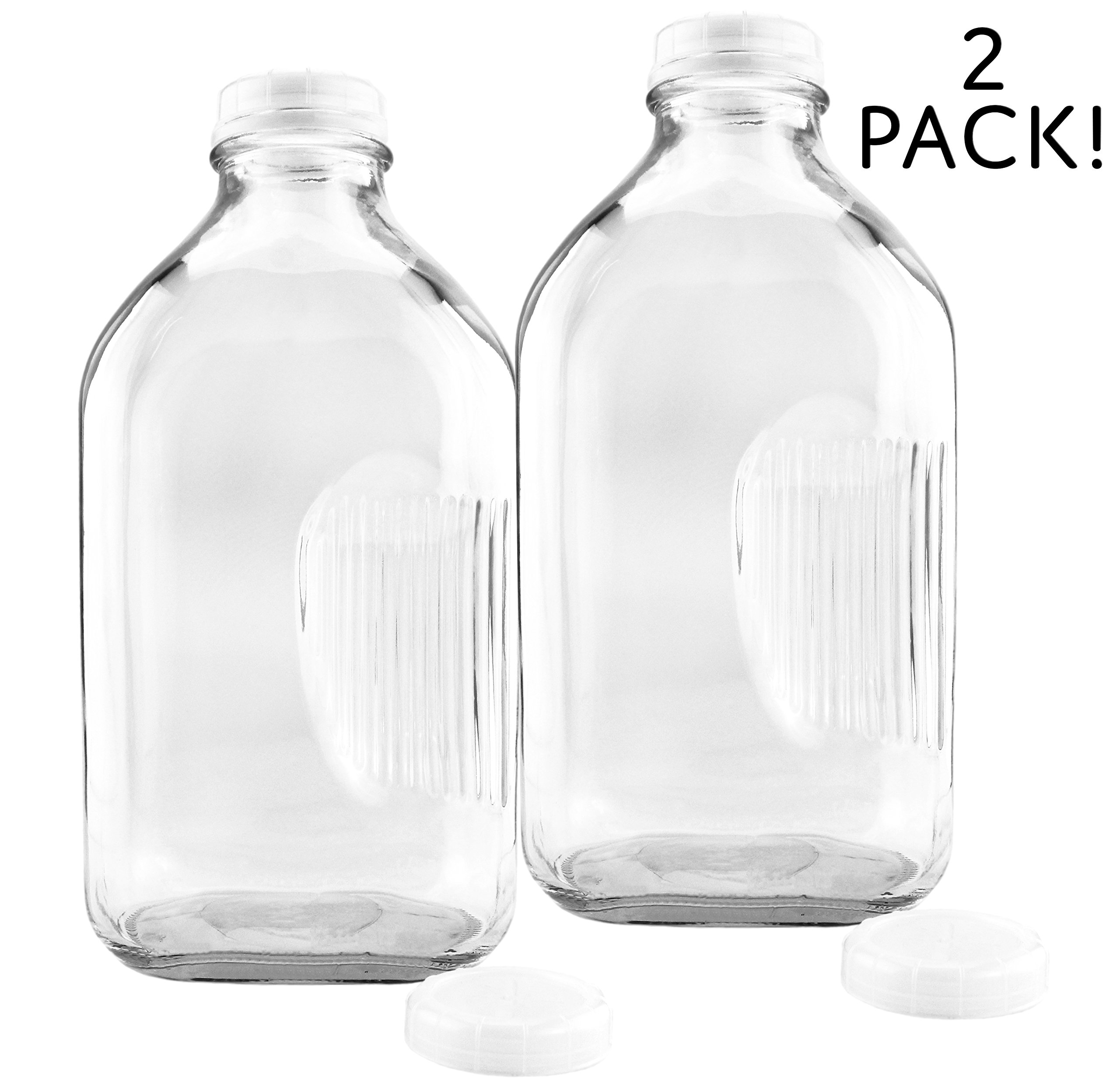 2-Quart Glass Milk Bottles w/ Side Grip (2-Pack); Clear Glass Rectangular Vintage Style Half Gallon Jugs Great for Storing Milk, Juice & Water in Fridge, Includes Extra Lids (2)