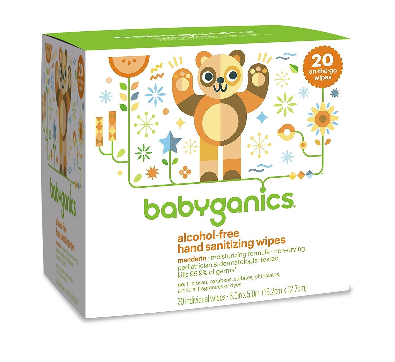 Babyganics Alcohol-Free Hand Sanitizing Wipes, Mandarin, On-The-Go, 20 count reseal pack 01094
