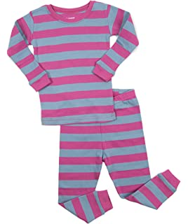 Leveret Girls Striped 2 Piece Pajama Set Top & Pants 100% Cotton (Size Toddler