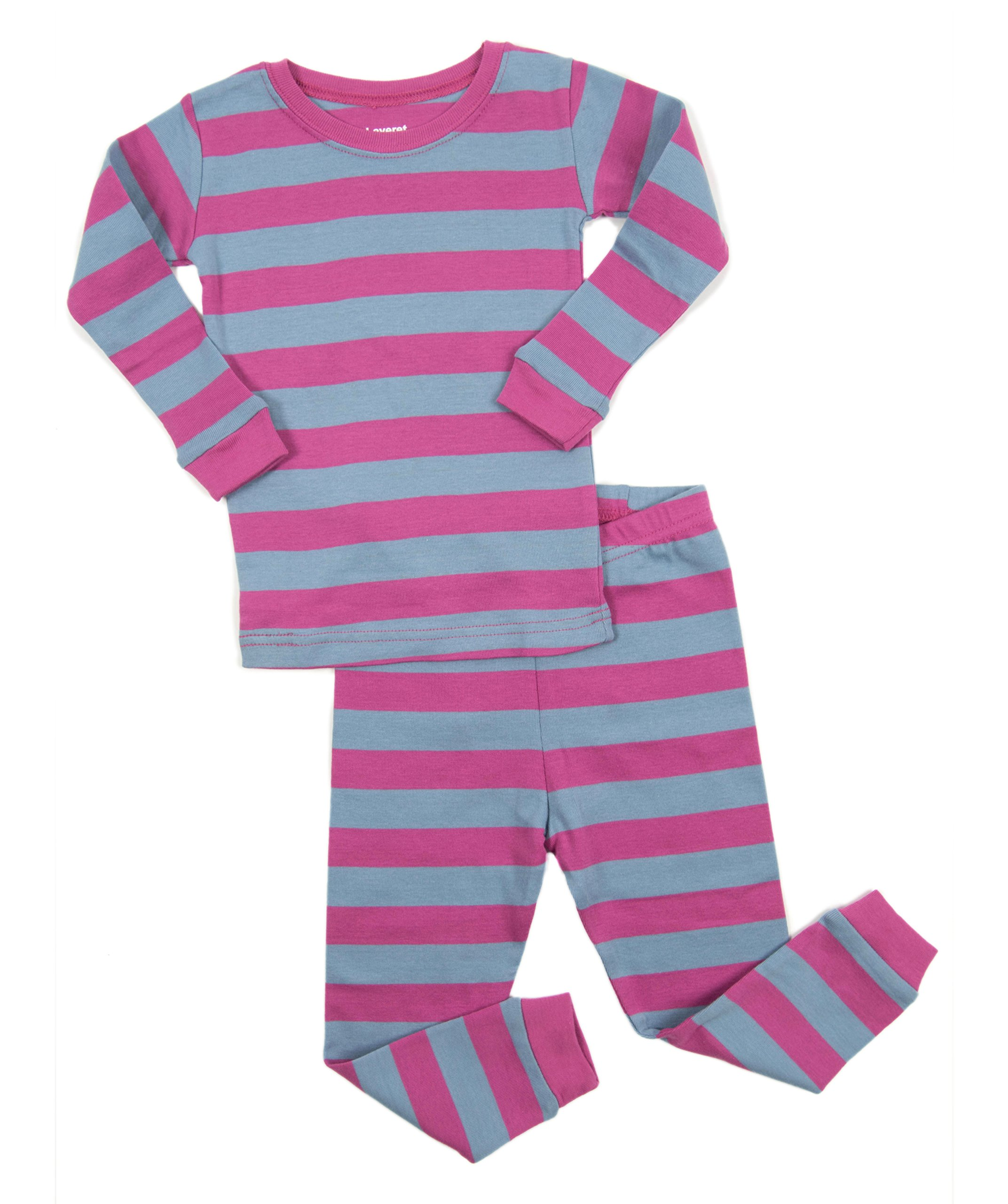 dc565490be Leveret Striped Kids   Toddler Girls Pajamas 2 Piece Pjs Set 100% Cotton  Sleepwear (