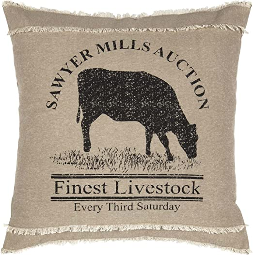 18 X 18 PIG Throw Pillow Rustic French Country100/% Cotton Farmhouse Bedding