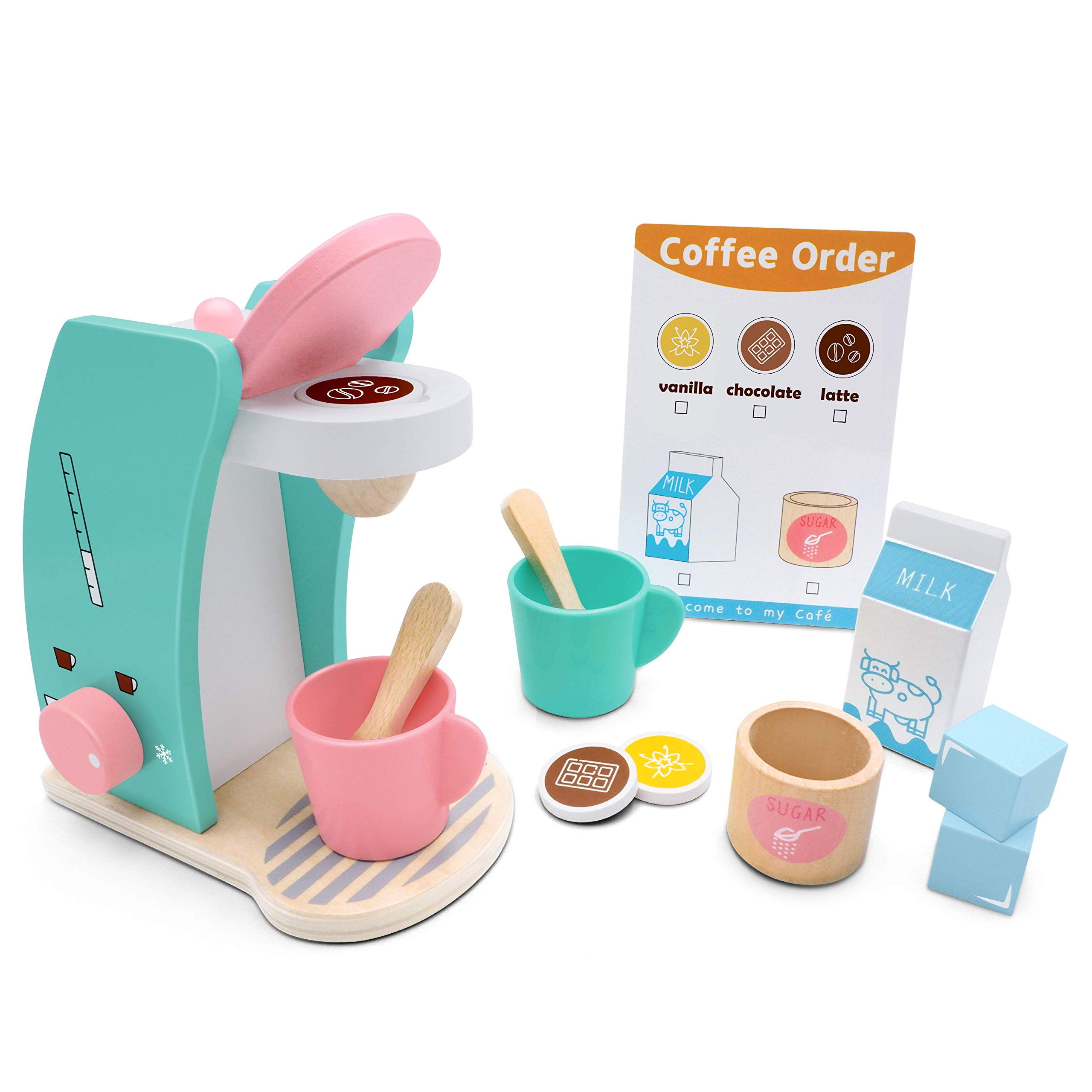 Brew & Serve Wooden Coffee Maker Set - Play Kitchen Accessories, Encourages Imaginative Play, 13 Pieces, Upgraded Toy Coffee Set for Kids-Fun and Colorful for Girls and Boys by Tiny Land