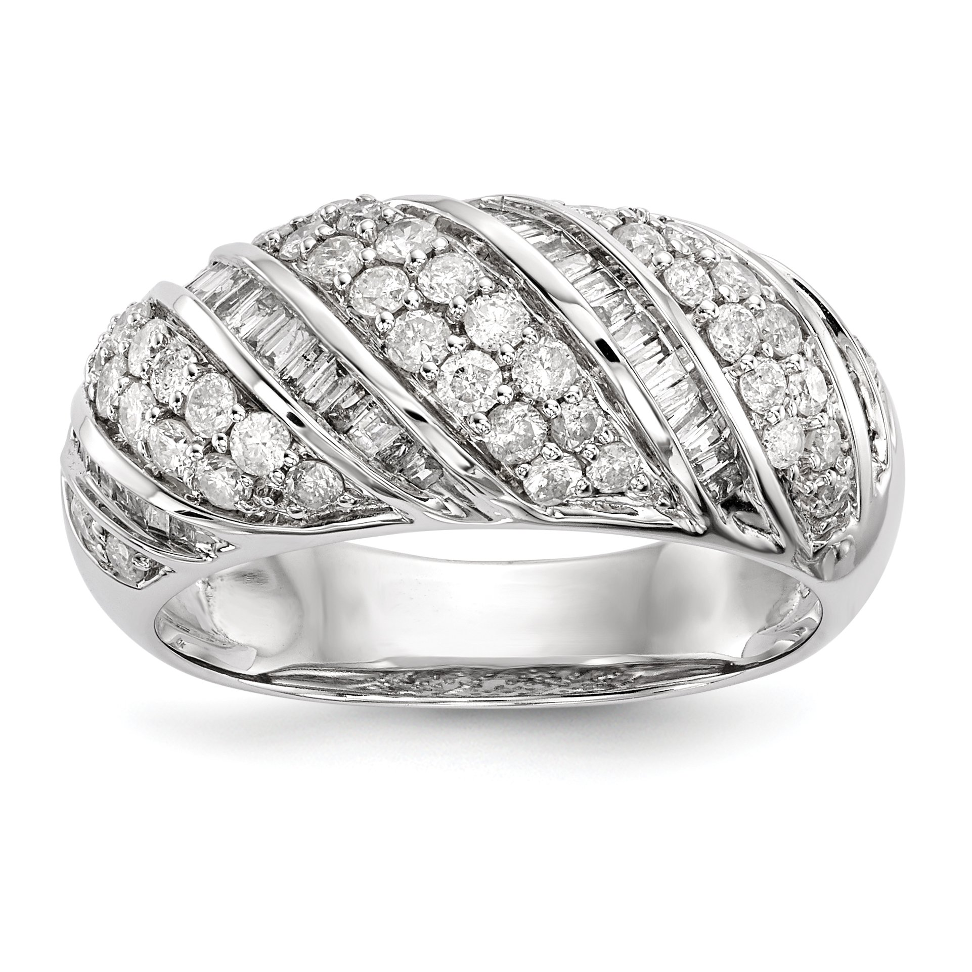 ICE CARATS 14k White Gold Diamond Band Ring Size 6.75 Fine Jewelry Gift Set For Women Heart