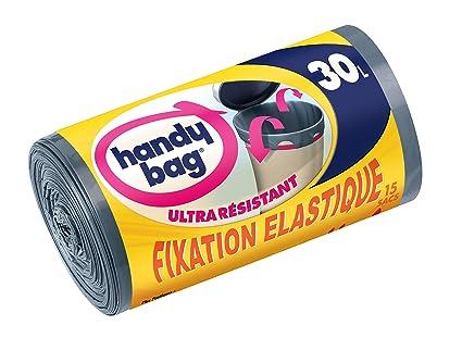 Handy bag - Rollo de 15 bolsas de basura con el desplazamiento de asas 30 l elástico lazos 53 x 63 cm