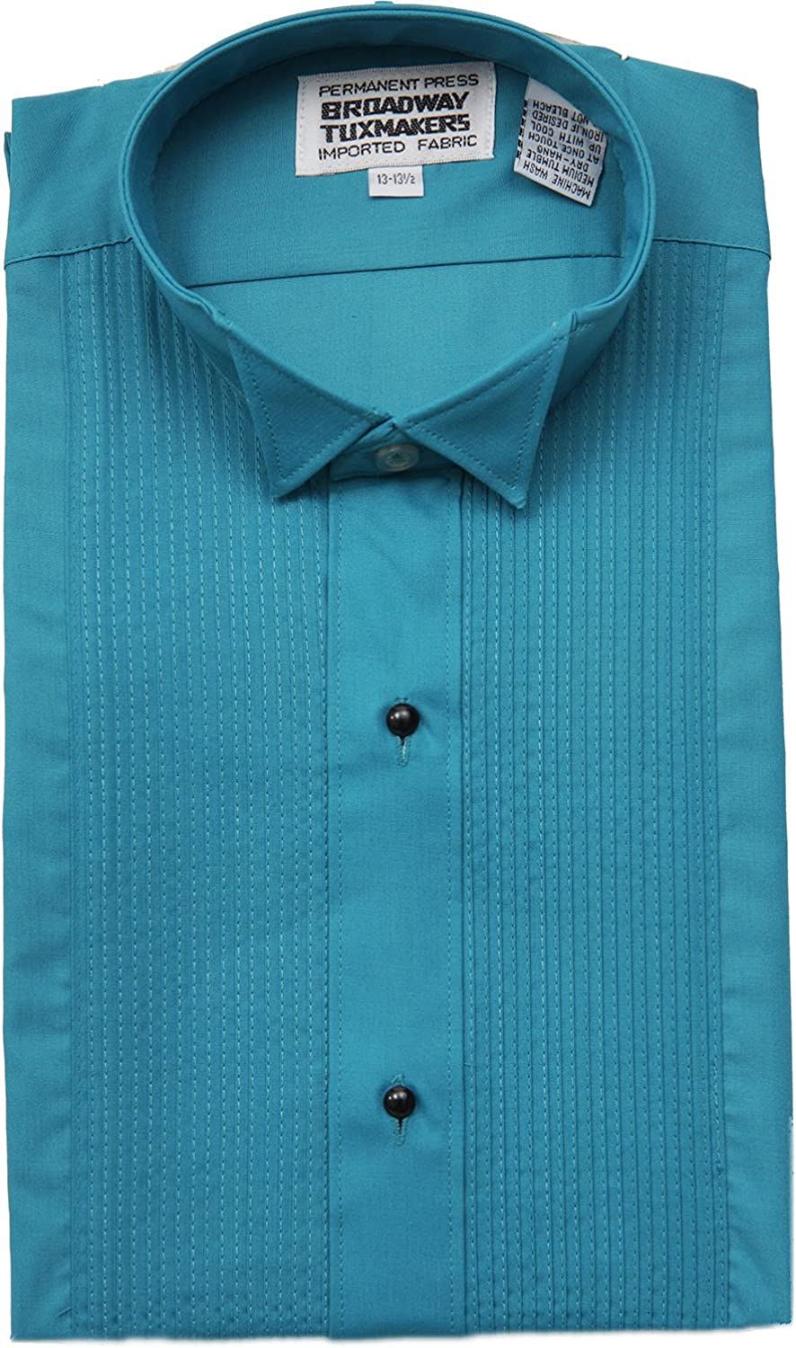 Broadway Tuxmakers Mens Teal Blue Tuxedo Shirt Wing Tip 1//4 inch Pleats by