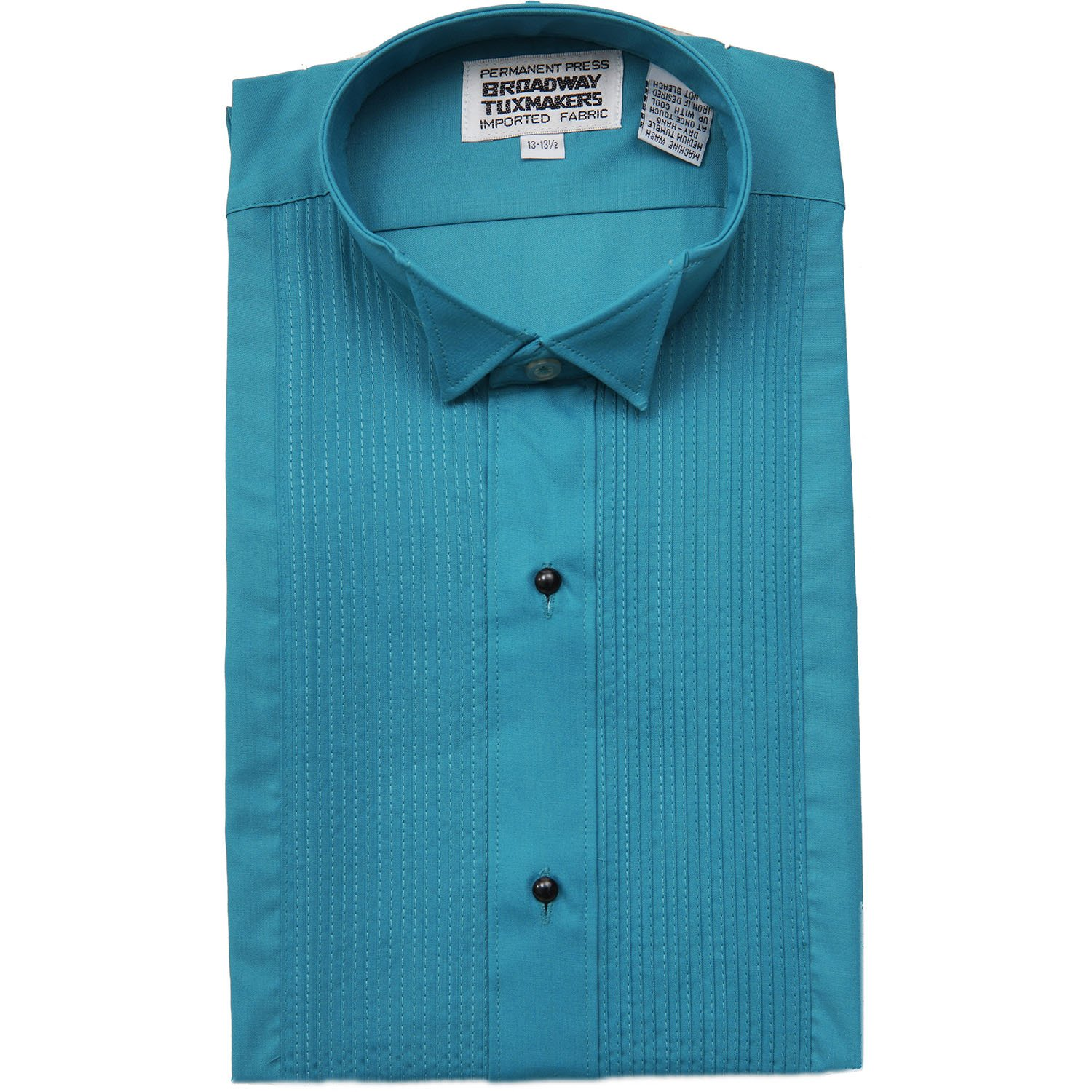 Broadway Tuxmakers Men's Teal Blue Tuxedo Shirt Wing Tip 1/4 inch Pleats by