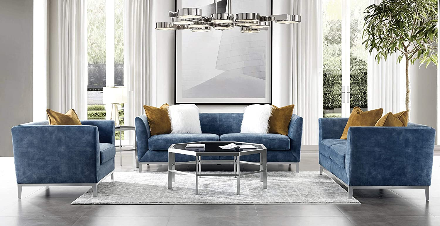 Acanva Luxury Mid-Century Modern Velvet Living Room Sofa Set, 3 Piece, Navy  blue