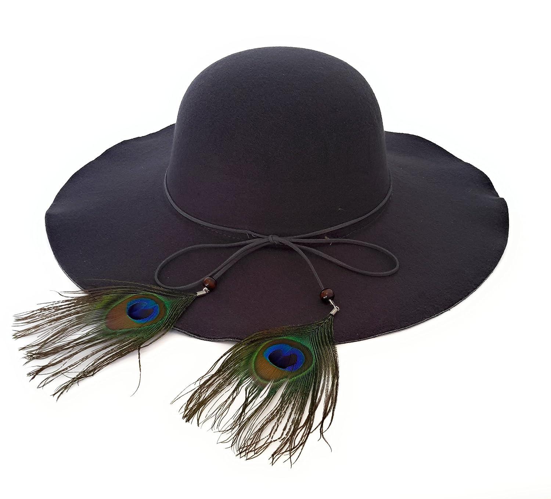 8fa5f40945c7e Sombrero Mujer Fieltro Otoño Invierno Estilo Británico Vintage Ala Ancha  con Lazo y Pluma Pavo Real