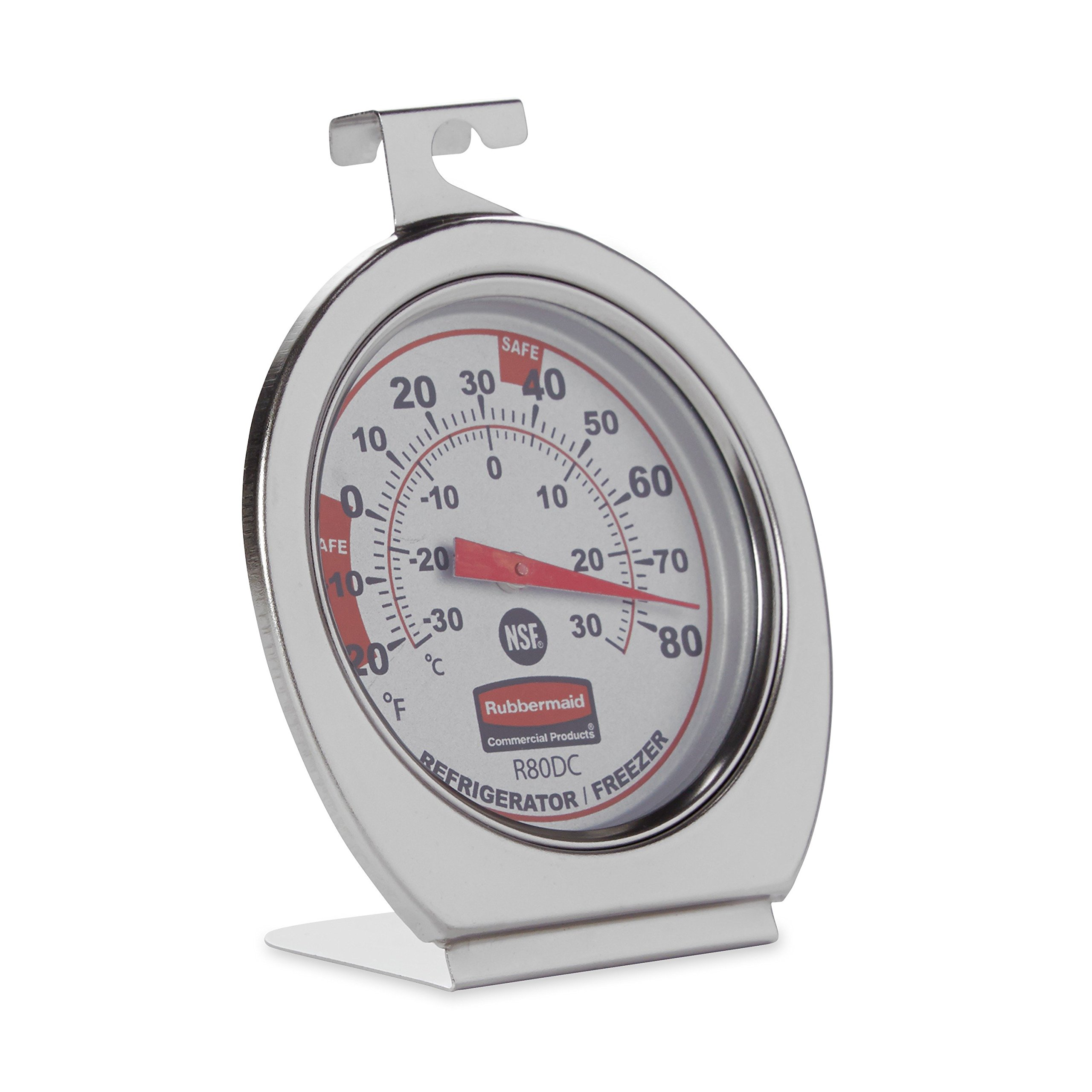 Rubbermaid Commercial Refrigerator/Freezer Thermometer, Stainless Steel