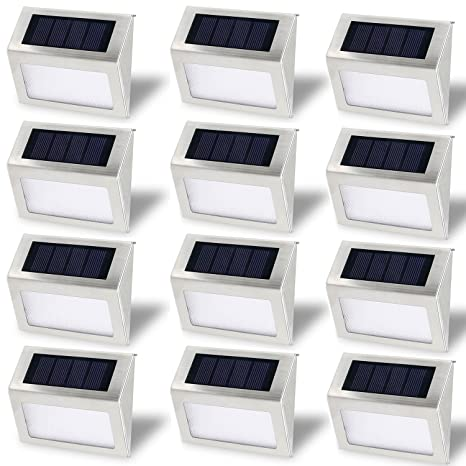 Solar Stair Lights, EpicGadget Waterproof Outdoor LED Step Lighting 3 LED  Solar Powered Step Lights