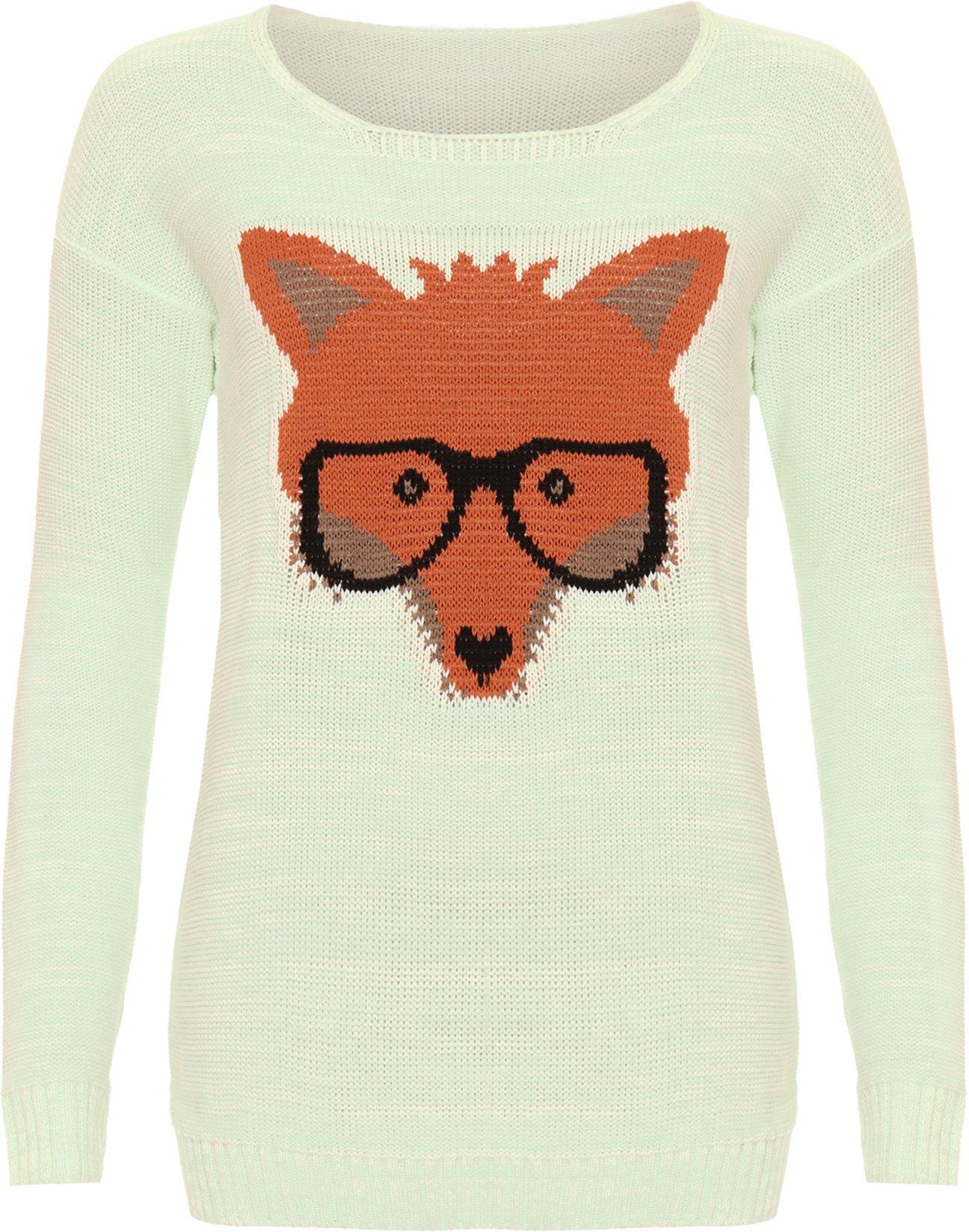 WearAll Women's Fox Glasses Knitted Ladies Long Sleeve Jumper Top - Mint Green - US 8-10 (UK 12-14)