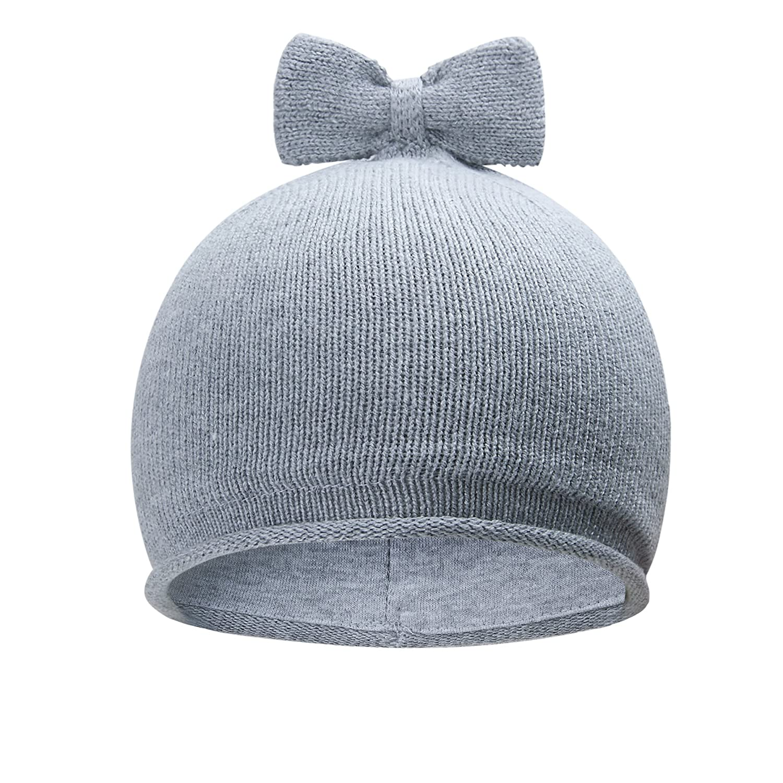 Vivobiniya Toddler Baby Girl Autumn/winter Knit Hats lovely Bowknot hats 6M-6Y