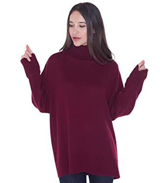 Image Unavailable. Image not available for. Color  cashmere 4 U Women s 100%  Cashmere Turtleneck Oversized Pullover Sweater ... e09aa44b0