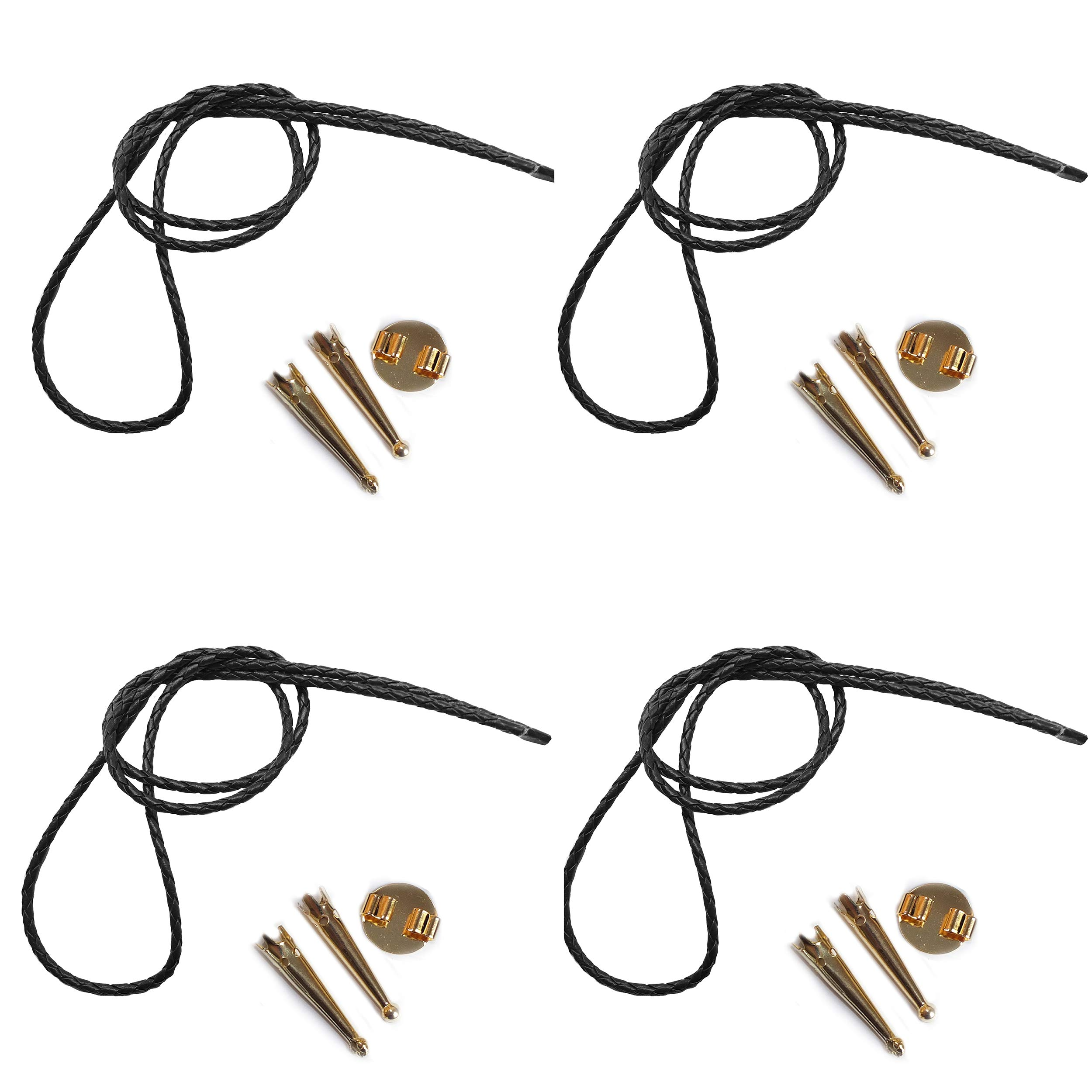 Blank Bolo String Tie Parts Kit Round Slide Smooth Tips Black Vinyl Braid DIY Gold Tone Supplies for 4 Ties