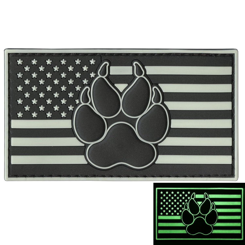 2AFTER1 Glow Dark USA American Flag K-9 Paw Dog Handler GITD Morale PVC Rubber Hook& Loop P.1825.2.V