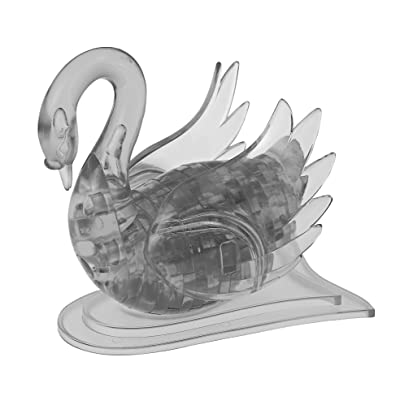 BePuzzled Original 3D Crystal Jigsaw Puzzle - Swan Bird Animal Assembly Brain Teaser, Fun Model Toy Gift Decoration for Adults & Kids Age 12 & Up, Black, 43Piece (Level 1): Toys & Games