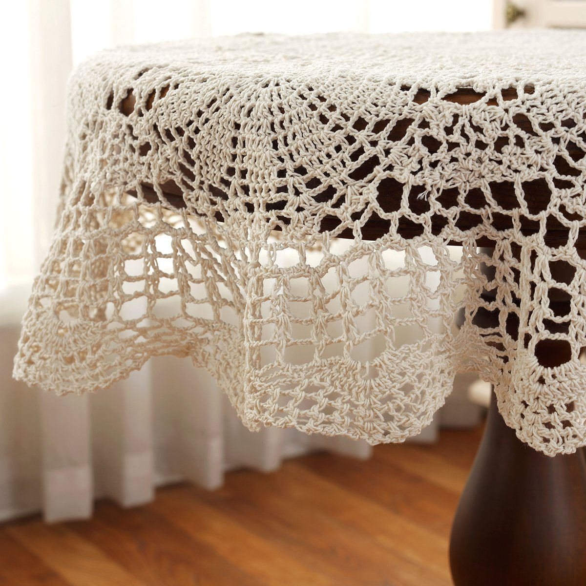Gracebuy 39 Inch Beige Round 100 Handmade Crochet Lace Oval Doily Diagram Pinterest Tablecloth Home Kitchen