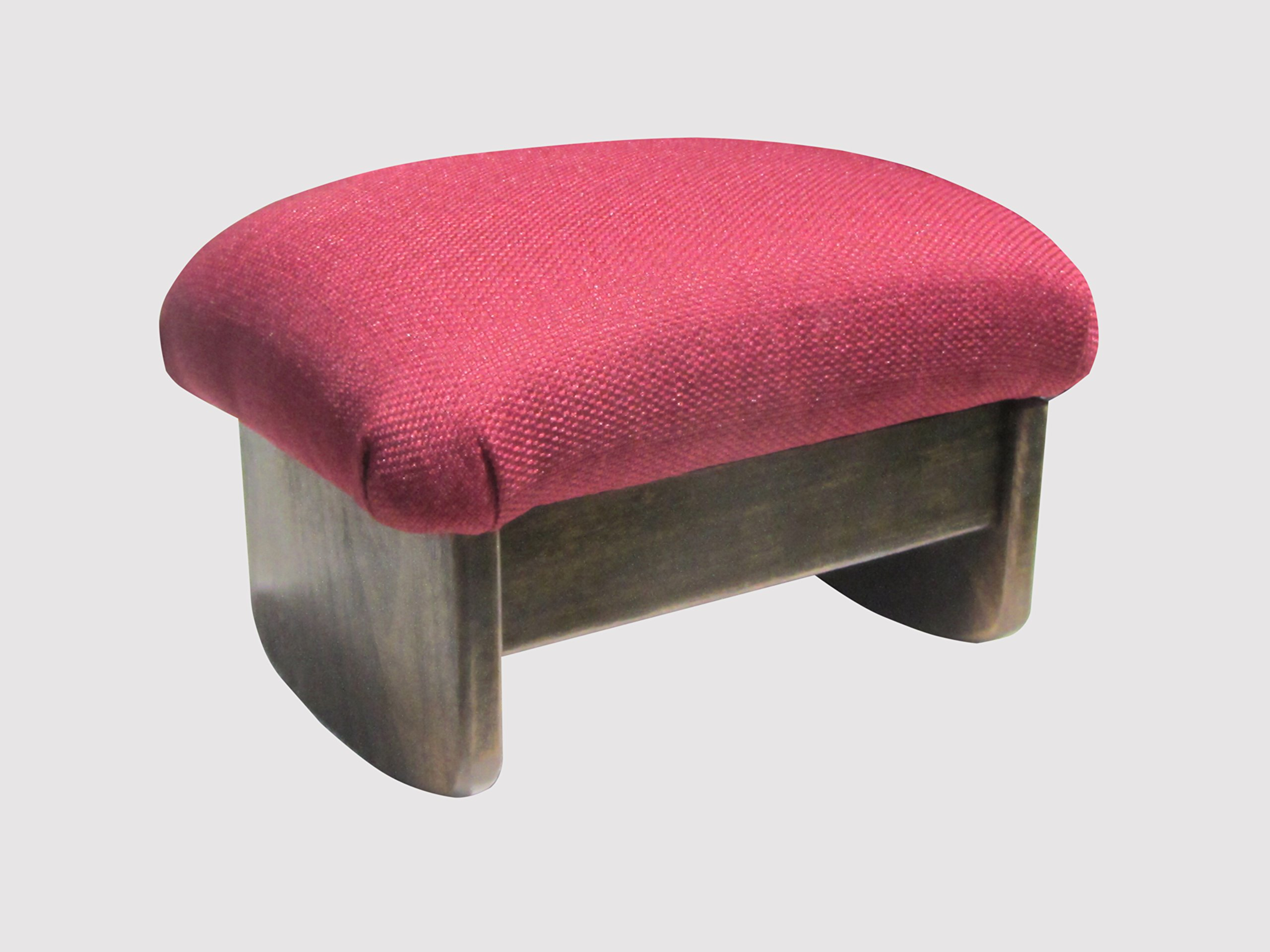 Rocking Padded Foot Stool: Burgundy, 9'' Tall, Walnut Stain (Made in the USA) by KR Ideas