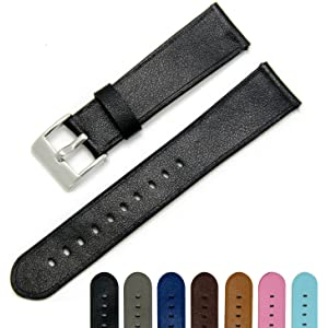 CIVO Quick Release Simple Watch Strap Top Grain Genuine Leather Watch Bands Smart Watches Band Stainless Steel Buckle 18mm 20mm 22mm with Top Spring Bar Tool and 2 Quick Release Spring Bars Bonus