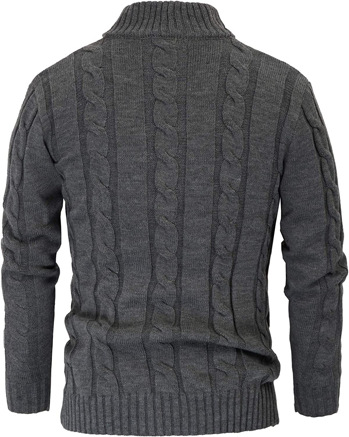 PJ PAUL JONES Mens Casual Stand Collar Cable Knitted Button Down Cardigan Sweater