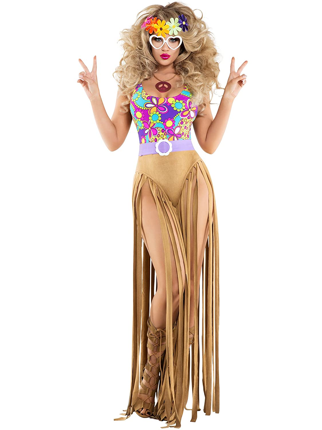 Damens's Hippie Hottie Fancy dress costume Medium