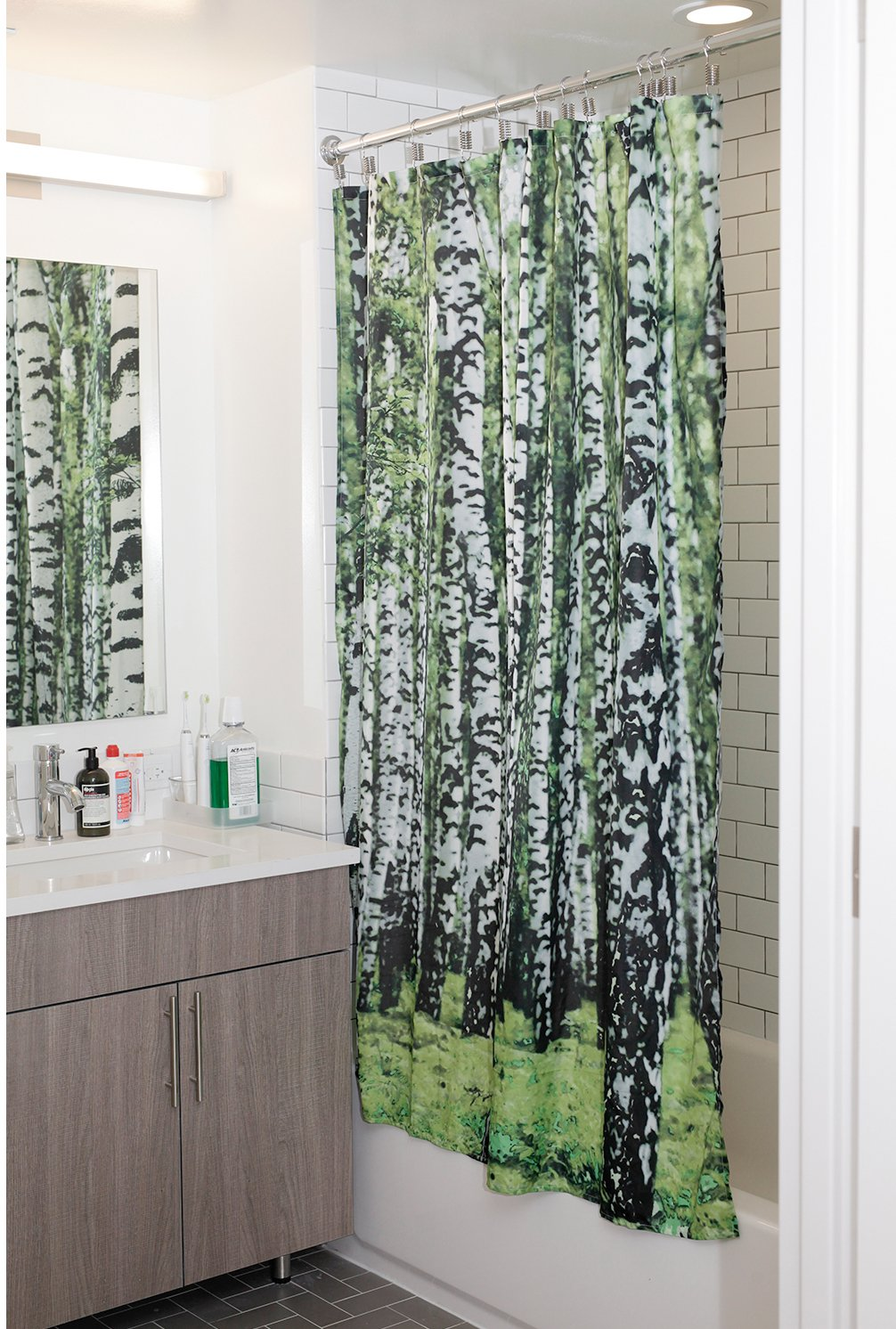 Mustache shower curtain - Amazon Com Kikkerland Shower Curtain Polyester Birch Home Kitchen