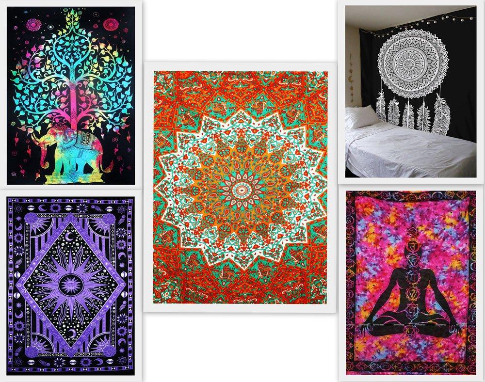 ... a mano al por mayor Pack de 5 Doble Tapices indio hecho a mano meditación tapiz Bosque Tie Dye tapiz star Mandala Arte colgante de pared playa toallas ...