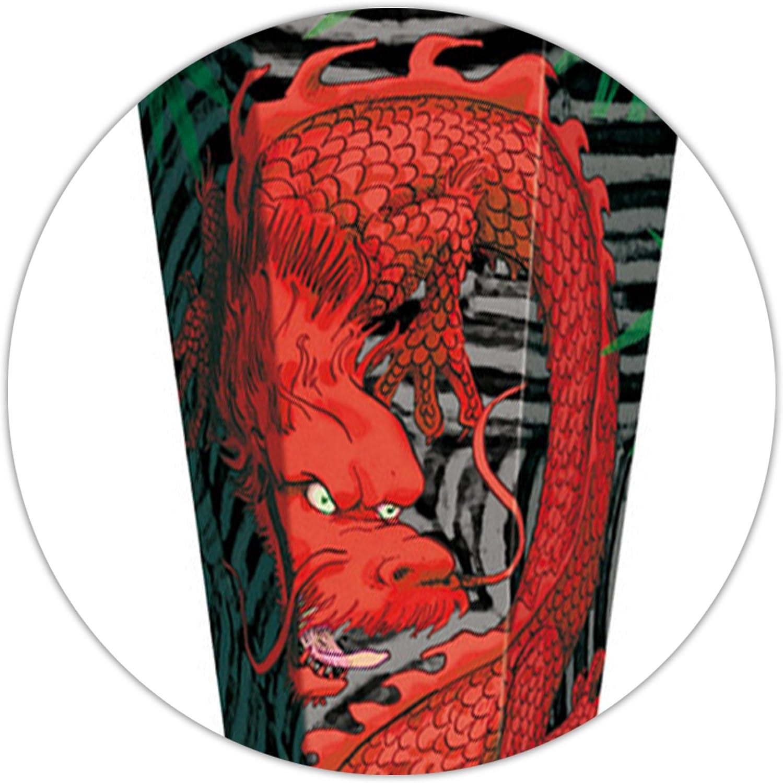 Zuckert/üte roter Drache /_ Schult/üte Roth red Dragon mit Holzspitze Jun.. eckig Drachen Motiv alles-meine.de GmbH 3-D Glitzer Effekt Organza Abschlu/ß 85 cm