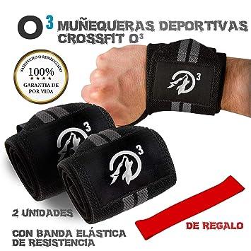 O³ Muñequeras Crossfit 2 Unidades con Banda Elástica | Muñequeras Deportivas Duraderas para Soporte Pesas |