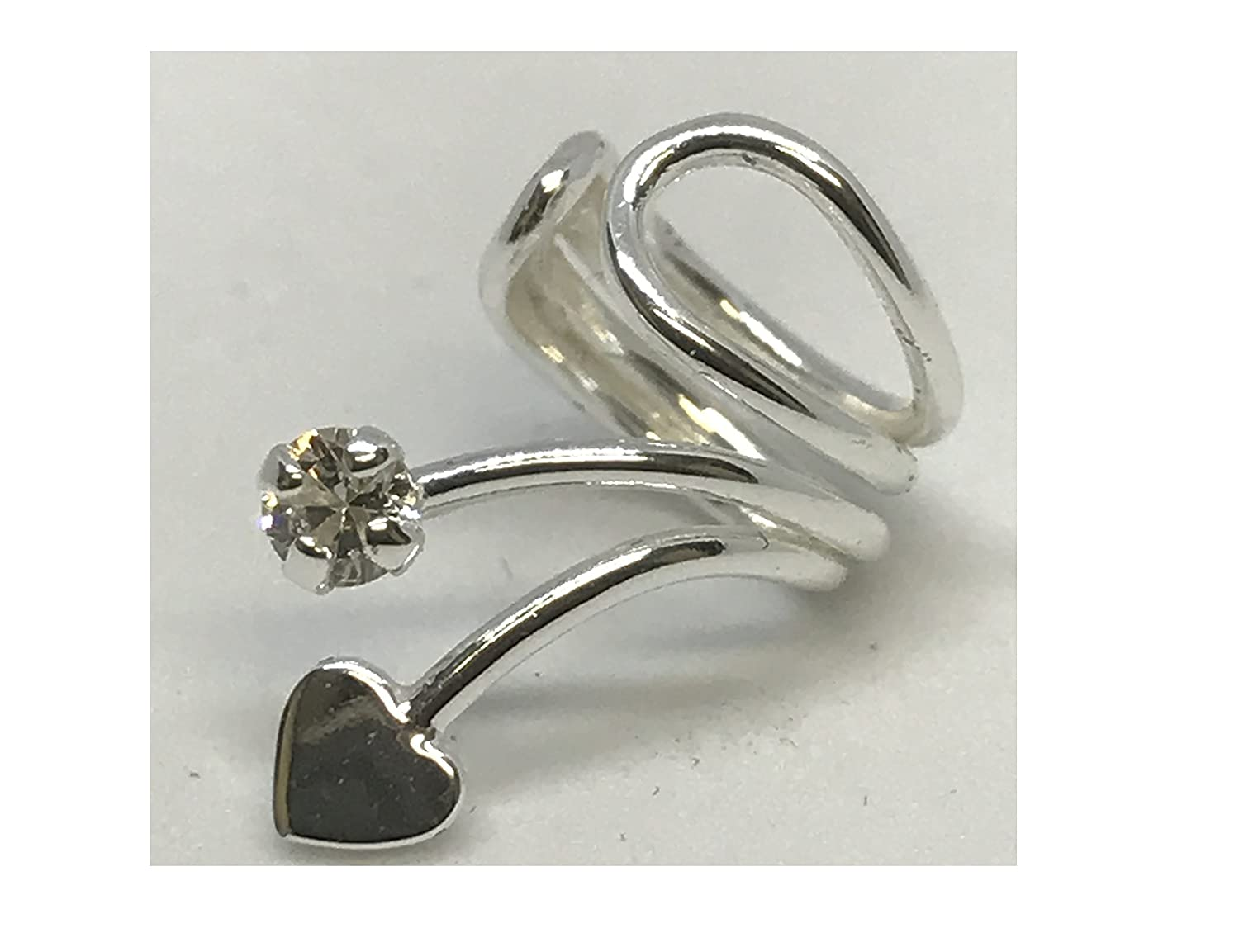 Silver Heart Ear Cuff with Cubic Zirconia