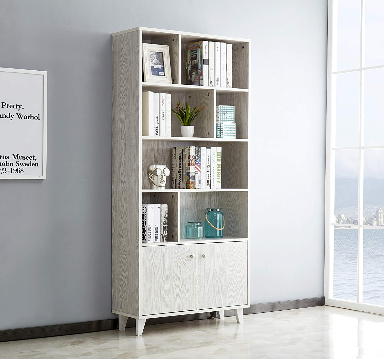 Mixcept Modern Bookcase with 2 Doors 68 Tall Storage Cabinet Wooden Bookshelf with 7 Compartments for Home Office, White Wash