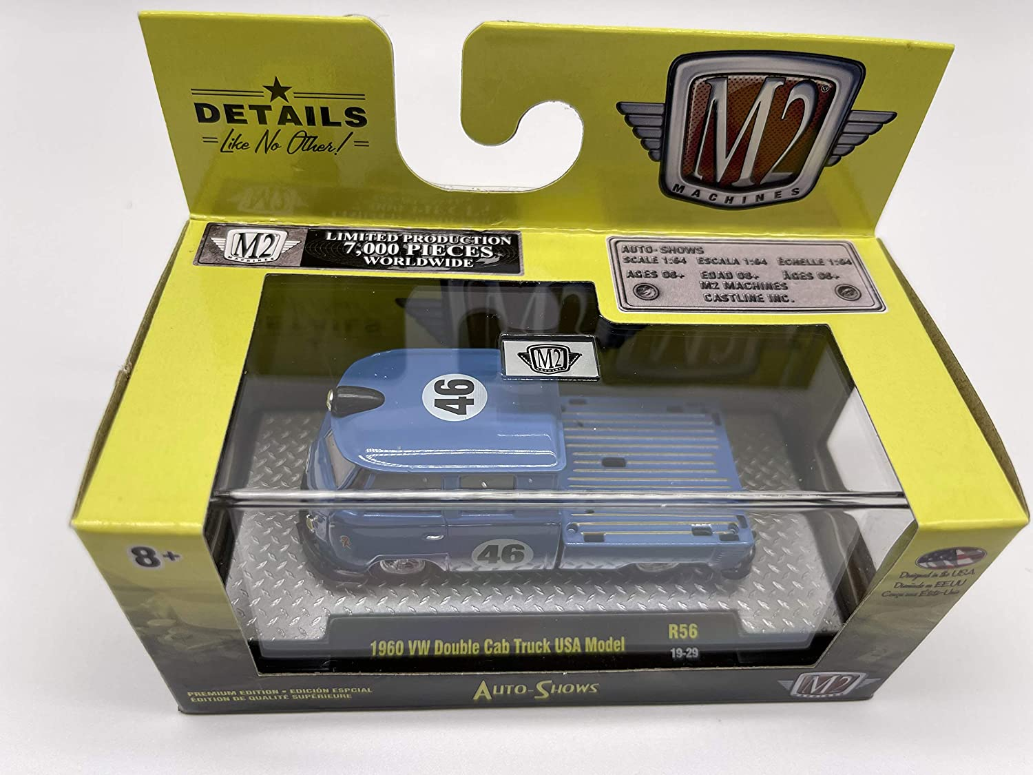 1 of 7000 M2 Machines by M2 Collectible Auto-Shows 1960 VW Double Cab Truck USA Model 1:64 Scale R56 19-29 Blue Details Like NO Other