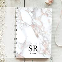 Personalised Diary Marble Initials, Rose Gold. Any Month Start, 1 Year Journal Planner. Choice of layouts. Week to Page, Week to View or 2 days one Page.