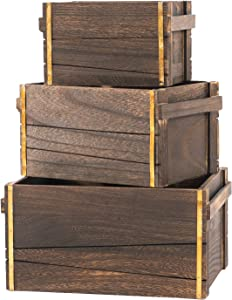 SLPR Decorative Vintage Wooden Storage Crates with Metal Strips (Dark Brown, Set of 3) | Farmhouse Wood Crate Basket Box