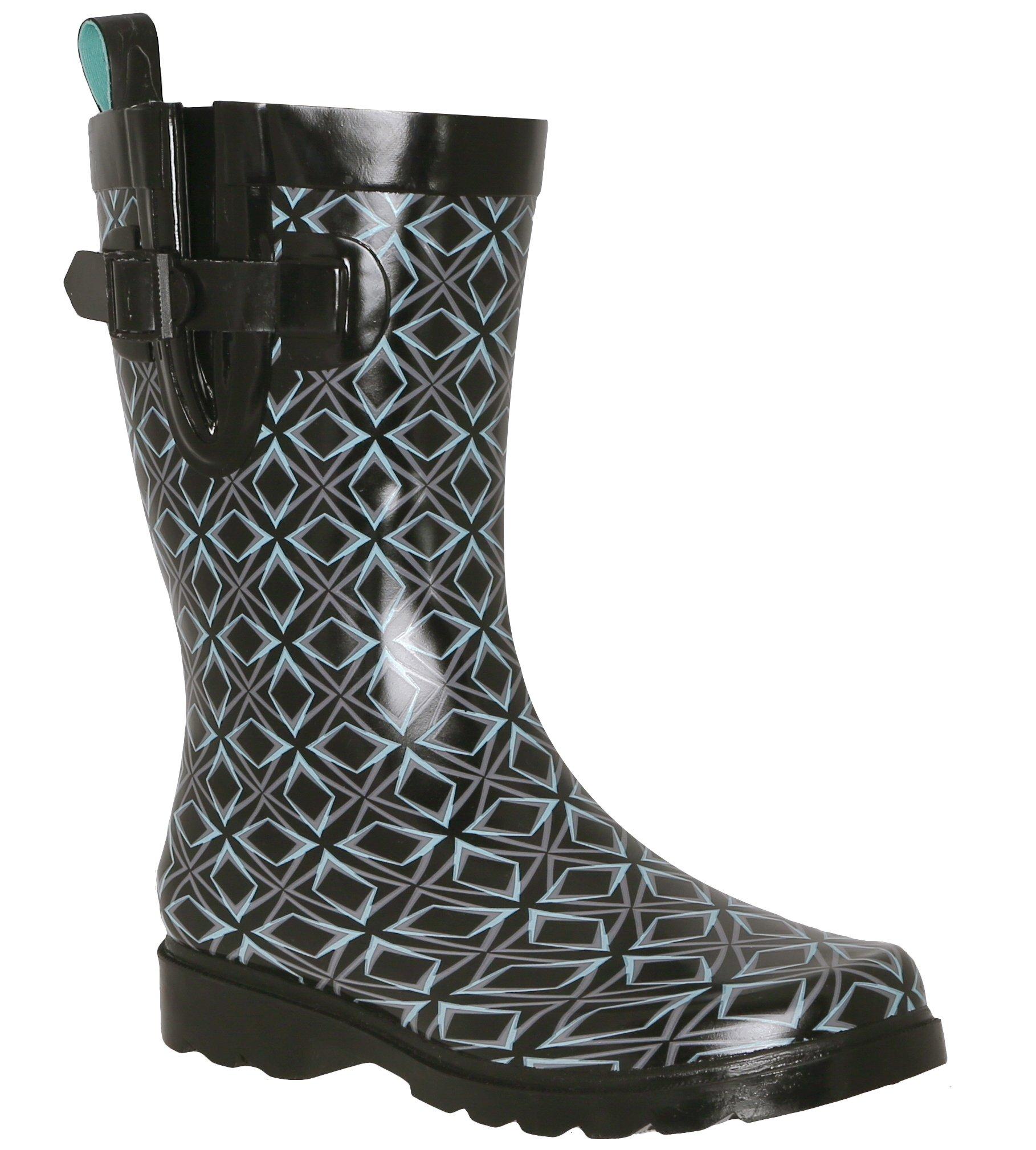Capelli New York Ladies Geo Diamond Printed Mid- Calf Rain Boot Black Combo 9