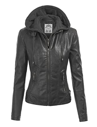 MBJ Womens Faux Leather Jacket with Hoodie at Amazon Women's Coats ...
