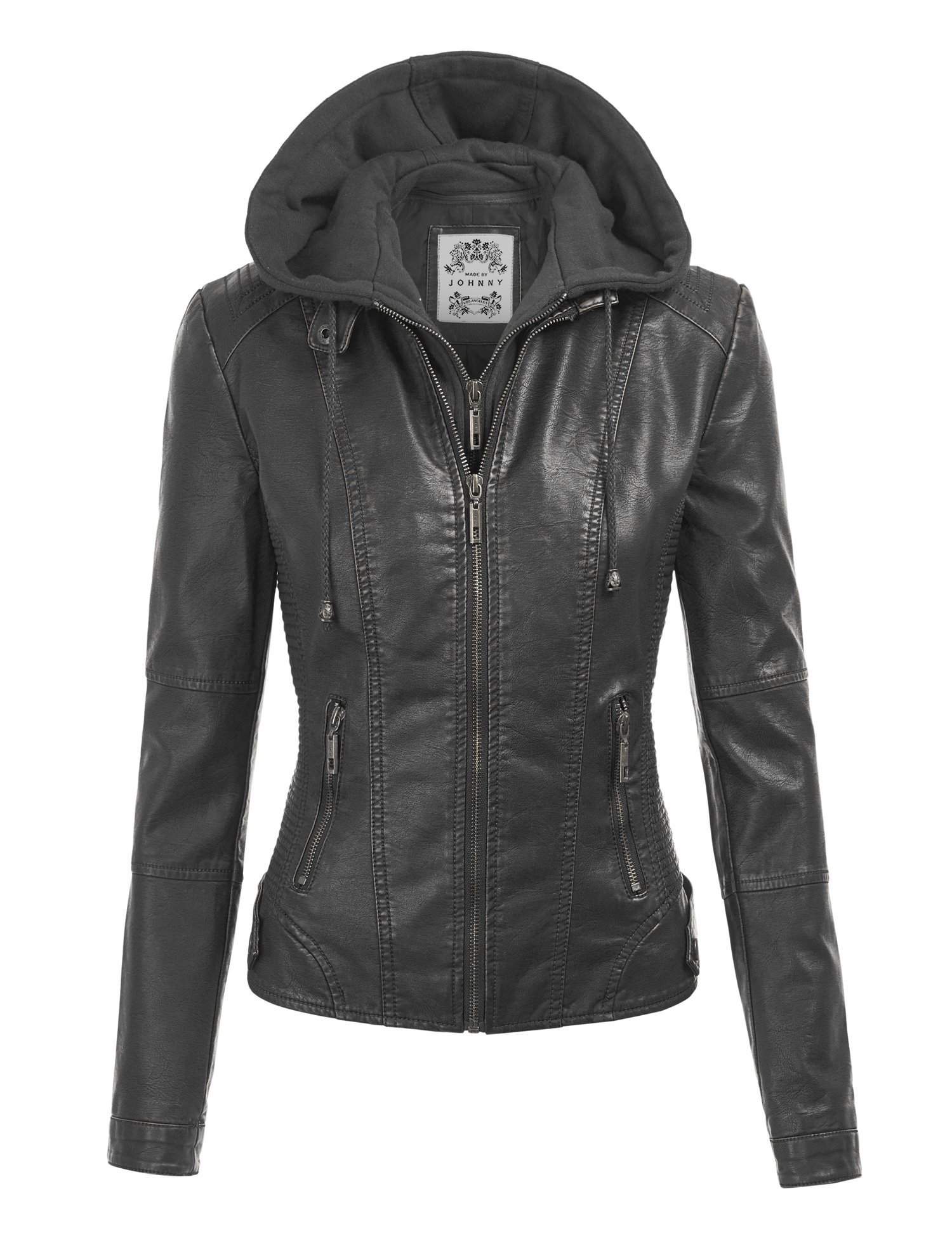Made By Johnny WJC1044 Womens Faux Leather Quilted Motorcycle Jacket with Hoodie L Black