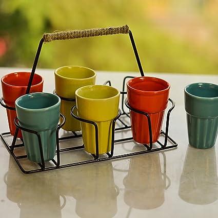 Homesake Ceramic Cutting Chai Glass, Set of 6